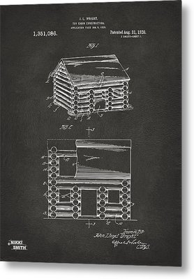 1920 Lincoln Logs Patent Artwork - Gray Metal Print by Nikki Marie Smith