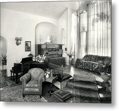 1920s Interior Upscale Music Room Metal Print