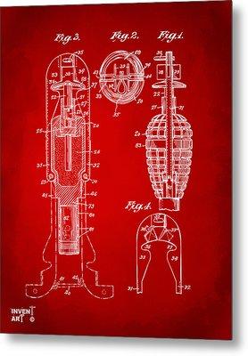 1921 Explosive Missle Patent Minimal Red Metal Print by Nikki Marie Smith