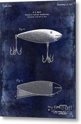 1921 Fish Bait Patent Drawing Blue Metal Print