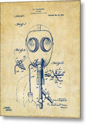 1921 Gas Mask Patent Artwork - Vintage Metal Print by Nikki Marie Smith