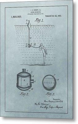 1922 Diving Apparatus Patent Illustration Metal Print by Dan Sproul