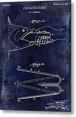 1922 Fish Mouth Opener Patent Drawing Blue Metal Print