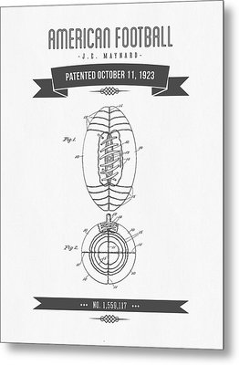 1923 American Football Patent Drawing - Retro Gray Metal Print by Aged Pixel