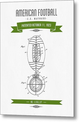 1923 American Football Patent Drawing - Retro Green Metal Print by Aged Pixel