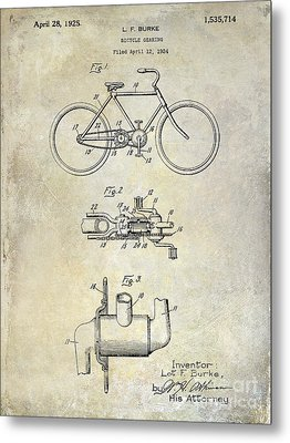 1924 Bicycle Patent Drawing Metal Print