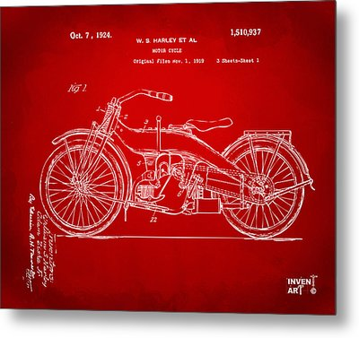 1924 Harley Motorcycle Patent Artwork Red Metal Print by Nikki Marie Smith