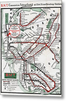 1924 Map Brooklyn Manhattan Transit Metal Print