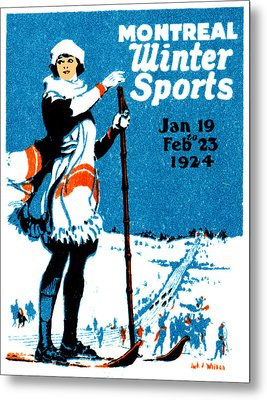 1924 Montreal Winter Sports Poster Metal Print by Historic Image