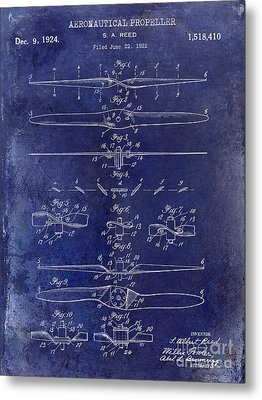 1924 Propeller Patent Drawing Blue Metal Print by Jon Neidert