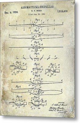 1924 Propeller Patent Drawing Metal Print by Jon Neidert