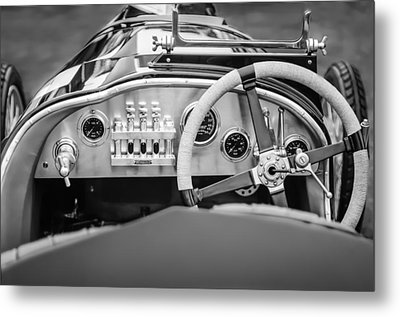 1925 Aston Martin 16 Valve Twin Cam Grand Prix Steering Wheel -0790bw Metal Print by Jill Reger