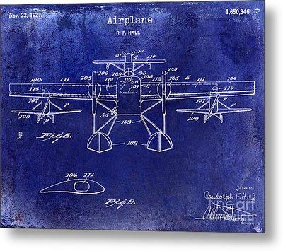 1927 Airplane Patent Drawing Blue Metal Print by Jon Neidert