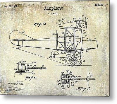 1927 Airplane Patent Drawing Metal Print by Jon Neidert