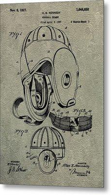 1927 Football Helmet Patent Metal Print by Dan Sproul