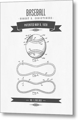 1928 Baseball Patent Drawing Metal Print by Aged Pixel