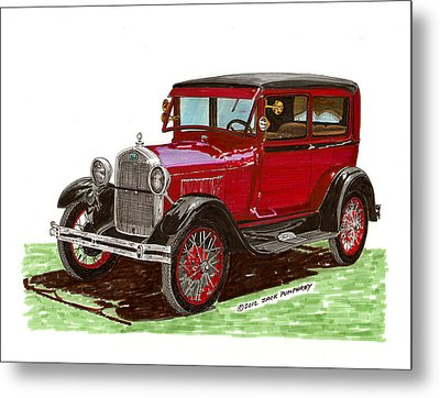 1928 Ford Model A Two Door Metal Print by Jack Pumphrey