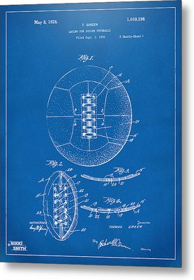 1928 Soccer Ball Lacing Patent Artwork - Blueprint Metal Print by Nikki Marie Smith