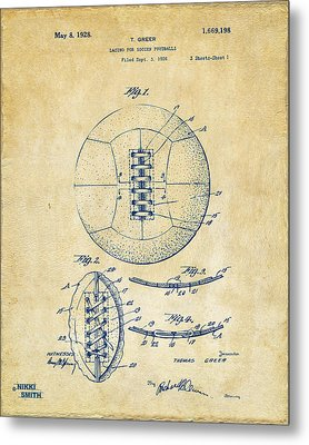 1928 Soccer Ball Lacing Patent Artwork - Vintage Metal Print by Nikki Marie Smith