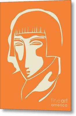 1928 Woman Face   Orange Metal Print by Igor Kislev