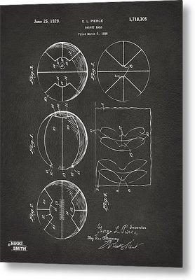 1929 Basketball Patent Artwork - Gray Metal Print