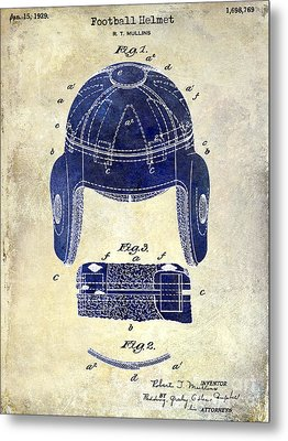 1929 Football Helmet Patent Drawing 2 Tone Metal Print
