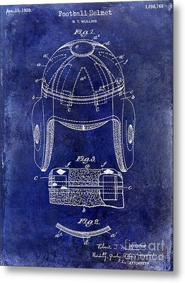1929 Football Helmet Patent Drawing Blue Metal Print