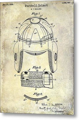 1929 Football Helmet Patent Drawing Metal Print