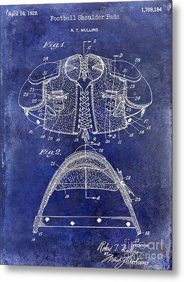1929 Football Shoulder Pads Patent Drawing Blue Metal Print