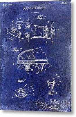1930 Football Cleats Patent Drawing Blue Metal Print