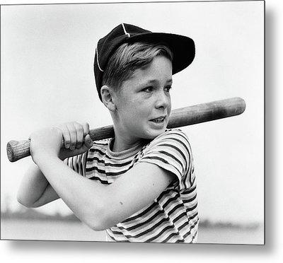 1930s Boy At Bat Wearing A Horizontal Metal Print