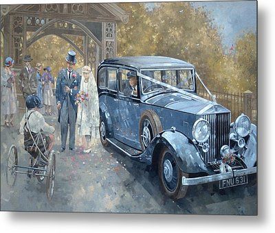 1930s Country Wedding Oil On Canvas Metal Print