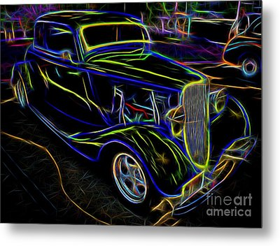 1930s Ford Coupe Neon Abstract Metal Print by Gary Whitton