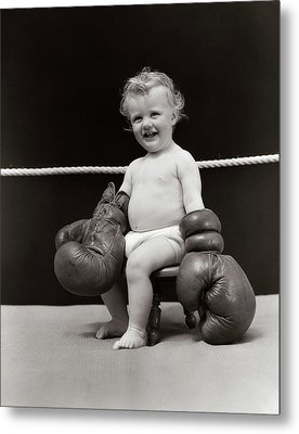 1930s Smiling Baby Seated On Stool Metal Print