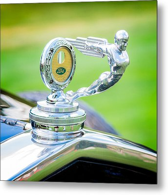 1931 Ford Model A Deluxe Fordor Hood Ornament Metal Print by Sebastian Musial
