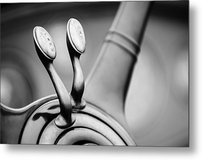 1931 Lincoln K Steering Wheel - Spark - Gas Controls -1865bw Metal Print by Jill Reger