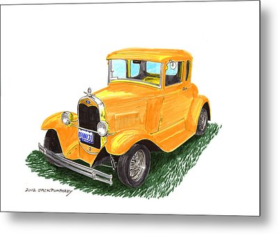 1931 Yellow Ford Coupe Metal Print by Jack Pumphrey