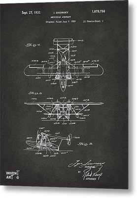 1932 Amphibian Aircraft Patent Gray Metal Print by Nikki Marie Smith