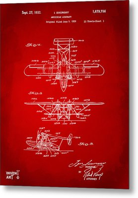 1932 Amphibian Aircraft Patent Red Metal Print by Nikki Marie Smith