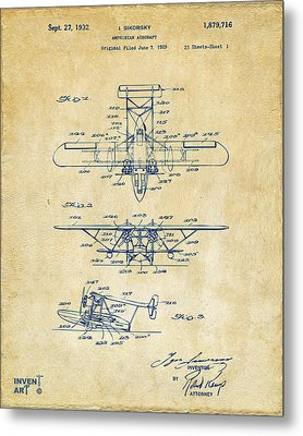 1932 Amphibian Aircraft Patent Vintage Metal Print by Nikki Marie Smith