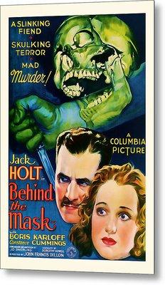 1932 Behind The Mask Vintage Movie Art Metal Print