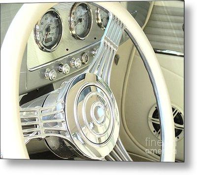 1932 Cabriolet Hupmobile Steering Metal Print