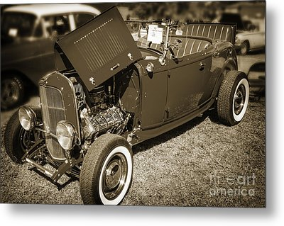 1932 Ford Roadster Classic Automobile Car In Sepia  3058.01 Metal Print by M K  Miller