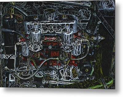 1932 Frazer Nash Tt Engine Detail Digital Art Metal Print