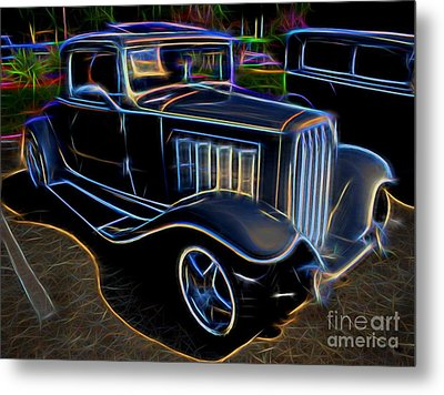 1932 Nash Coupe Antique Car - Neon Metal Print