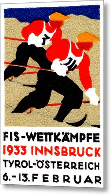 1933 Austrian Ski Race Poster Metal Print by Historic Image