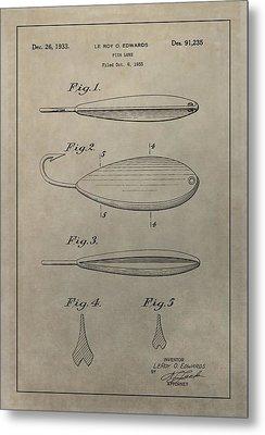 1933 Fish Lure Patent Metal Print by Dan Sproul
