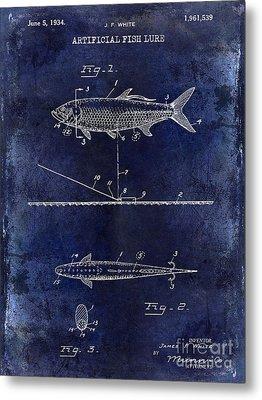 1934 Artificial Fish Lure Patent Drawing Blue Metal Print
