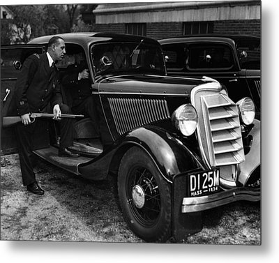 1934 Boston Policeman Ready For Action Metal Print
