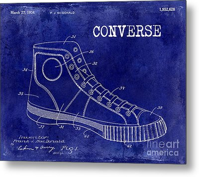 1934 Converse Shoe Patent Drawing Blue Metal Print by Jon Neidert
